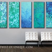 Abstract Ocean Painting/ Oversized Watercolor Painting/ 41 x 75 (4 panels at 41 x 15) Green-blue, Aqua, seafoam/ Ready Now Original Painting - Edit Listing - Etsy