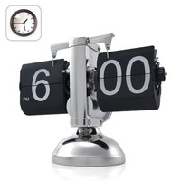 niceeshop(TM) Retro Flip Down Clock , Internal Gear Operated,Black' With Accessory Cable Tie