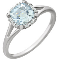 14kt White Gold Cushion Aquamarine & .05 CTW Diamond Ring