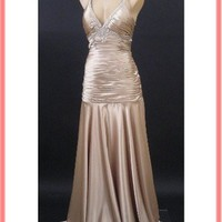 30s Deco Style Gown-Champagne Satin Vintage Inspired Prom Evening Dress
