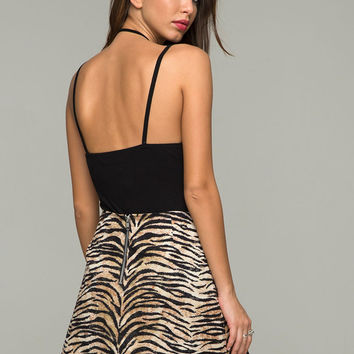 Annie A Line Skirt in Tiger Print by Motel