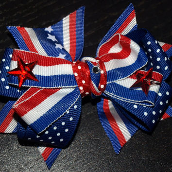 red white and blue star bow by mylittlebows on Etsy