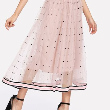 Striped Tape Trim Dotted Mesh Skirt