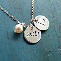 Graduation Gift Personalized Initial Necklace Personalized Neckalce Initial necklace College Graduation gift High school Graduation  2014