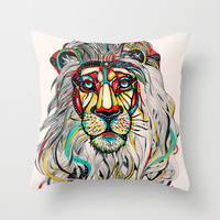 Lion Throw Pillow by Felicia Atanasiu
