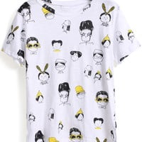 Cartoon Printed Loose Fitting White T-Shirt