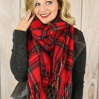 Highland Girl Plaid Scarf in Red