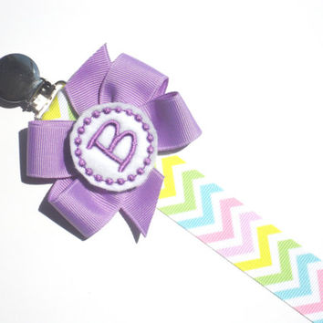 Personalized Pacifier Clip Chevron Monogram Pacifier Clip Personalized Baby Pacifier Holder Soothie Nuk Mam you pick Great for Twins