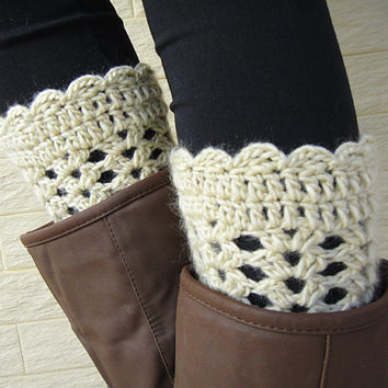 Crochet Womens Leg Warmers, Womens Boot Socks, Boot Cuff, Faux Leg Warmers, or Boot Toppers with Chunky Knit and Wooden Buttons for Women