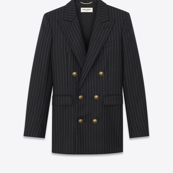 SAINT LAURENT ‎DOUBLE BREASTED FLANNEL JACKET WITH RIVE GAUCHE STRIPES ‎ | YSL.COM