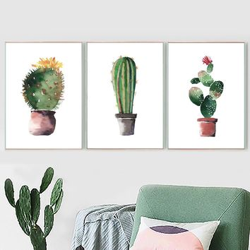 Watercolor Cactus Plant Posters And Prints Wall Art Canvas Painting Nordic Poster Canvas Art Wall Pictures For Living Room Decor
