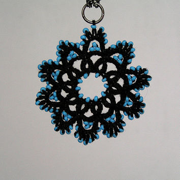 Tatted Lace black pendant, beads,Tatting, Frivolite, Handmade, Jewellery, pendant, Fibre, Goth, steampunk, Necklace, gift for her, My Wealth