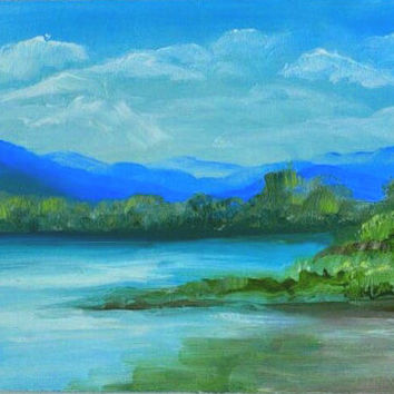 Fine Art -Oil Painting on Canvas - TEXTURED Painting - Hand Painted Home Decor - Montenegro - Skadar Lake - etude