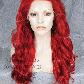 """24"""" Synthetic Lace Front with Wave Texture in Fire Red"""