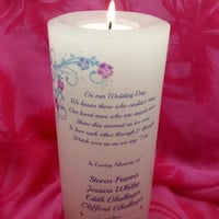 Wedding Memorial Candle, In Loving Memory, Memorial Candles, Pillar Candle, Angel Candle, Sympathy Candle