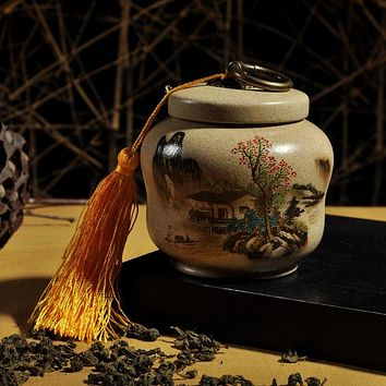 Small size, Genuine landscape pottery tea caddy, ceramic jar, Black, oolong tea, puer tea Storage tank,special~