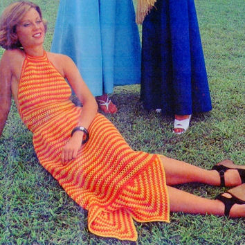 INSTANT DOWNLOAD PDF Vintage Crochet Pattern Halter long Sun Dress 70s Retro Crochet dress knitting supplies epsteam orange knitting pattern