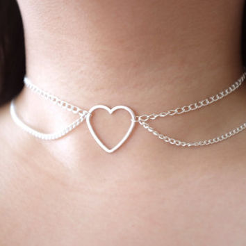 Double Tiered Silver Hollow Heart Pendant O-RING CHAIN Choker Collar Necklace