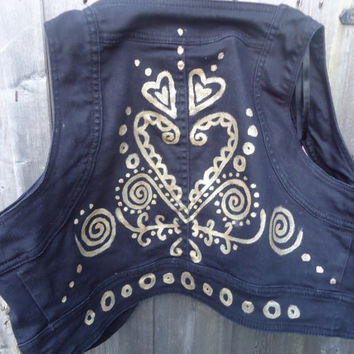 Upcycled black cropped waistcoat vest with handpainted gold psychedelic patterns spirals hearts boho clothing pixie gypsy festival