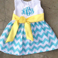 Baby Girls Chevron Easter Dress Monogrammed Outfit Blue and Yellow