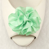 Mint Shoe clips  satin ribbon flower Green carnation by daisyclub