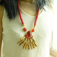 Sun Necklace Boho Long necklace Fringe necklace Rope Necklace Statement necklace Stone Bib Necklace Multi stone Necklace hippie gift for her