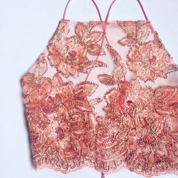 dusky pink crop top halter silk lace sequin french appilque camisole bralette bra lingerie co ors skirt pants boob tube luxury size 4 6 8 10