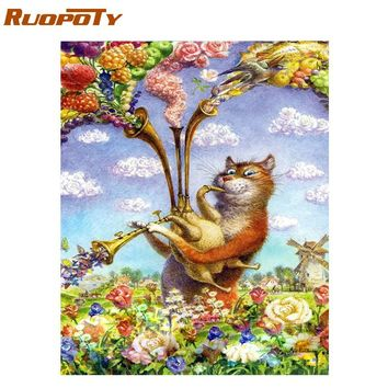 RUOPOTY Frame DIY Painting By Numbers Cat Animals Modern Calligraphy Painting Acrylic Paint On Canvas For Wall Art Picture 40x50