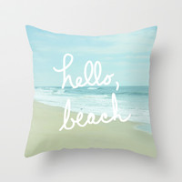 Hello, Beach Throw Pillow by Avenue L Designs | Society6