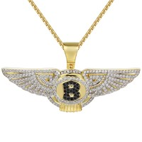 "Men's Car logo Wings Black Symbol Pendant 24"" Necklace"