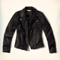 Studded-Collar Faux Leather Biker Jacket