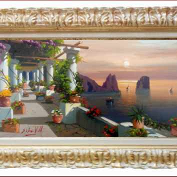 Italian painting Capri seascape sunset original oil on canvas of Silvio Valli Italy - Dipinto quadro Capri