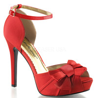 Red Pleated Bow d'Orsay Pump