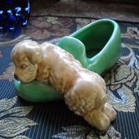 Vintage Sylvac Ceramic Puppy Dog Lying on a Slipper Ornamental No: 31 Puppy on a Slipper Made in England Mid Century Pottery 1940s