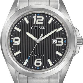 Citizen Eco-Drive Men's Stainless Steel Watch with Black Textured Dial