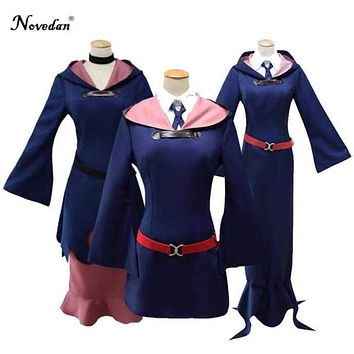 Little Witch Academia Academy Sucy Manbavaran Akko Kagari Lotte Cosplay Costumes Anime Dress Uniform Outfit Halloween Costumes