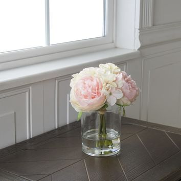 Pure Garden Hydrangea and Rose Floral Arrangement - Pink and Cream | Overstock.com Shopping - The Best Deals on Silk Plants