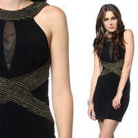 90s Black Gold Dress Bodycon Metallic Mesh Keyhole Open Back 1990s Party Fitted Body Con Vintage Sexy Cocktail Tight Dress Small Medium S M