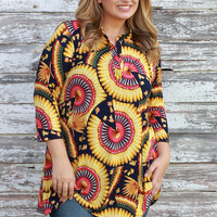 Skip A Beat Mandarin Print Tunic With 3/4 Length Sleeves ~ Yellow ~ Sizes 12-18