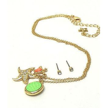 Children's Gold Crystal starfish and turtle dangle necklace w/ stud earring set
