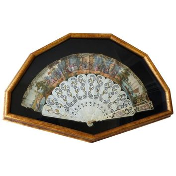 Ladies 18th Century Hand-Painted and Bone Fan Displayed in a Shaped Shadowbox