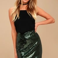 Dancing 'til Daylight Dark Green Sequin Bodycon Skirt