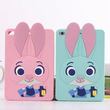 Super Cute Crazy animal City 3D Judi Rabbit Cover For IPAD Mini 1 2 3 4 Soft Silicone Case For IPAD 2 3 4 Funda for iPAD Air 1 2
