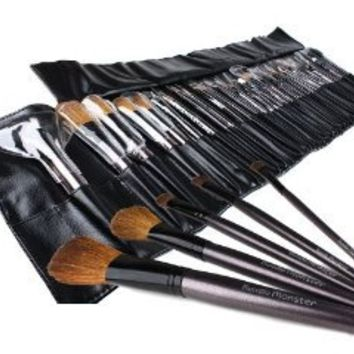 Bundle Monster 34pc Studio Pro Makeup Make Up Cosmetic Brush Set Kit w/ Leather Case - For Eye Shadow, Blush, Concealer, Etc