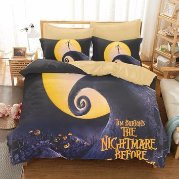 The Nightmare Before Christmas Bedding Set 3pcs Qualified Bedclothes Unique Design Duvet Cover set Twin Queen Size for Kids Gift