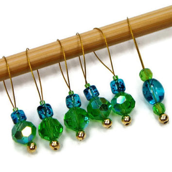 Beaded Stitch Markers, Snag Free, DIY Knitting Supplies, Spring Green, Tropical Blue, Gift for Knitter, Craft Supplies, TJBdesigns