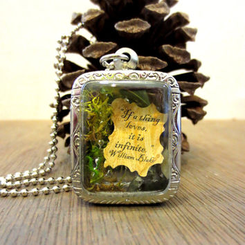 Your love is Infinite....Miniature Terrarium with Beautiful Love Note Enclosed, Love Note Locket