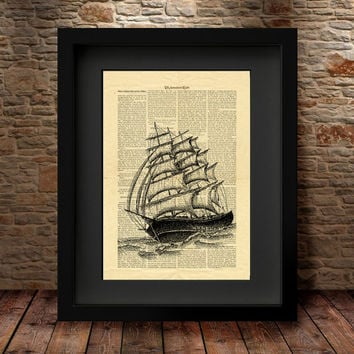 Ship Wall decor, Dictionary page art, Sailing Ship Home decor, Dictionary Wall art prints, art print, print art, vintage style book page -18