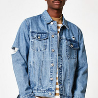 PacSun Destroyed Medium Wash Denim Jacket at PacSun.com