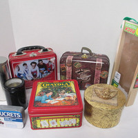 SALVAGE LOT 8 Tins , Containers, Boxes, Lunch Boxes for Upcycling, Altered Art, Crafts